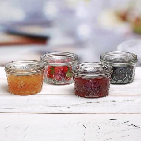 Circle Glass 12 oz. Jam Jars - Set of 4