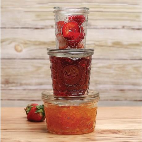 Circle Glass Jam Jars - Set of 3