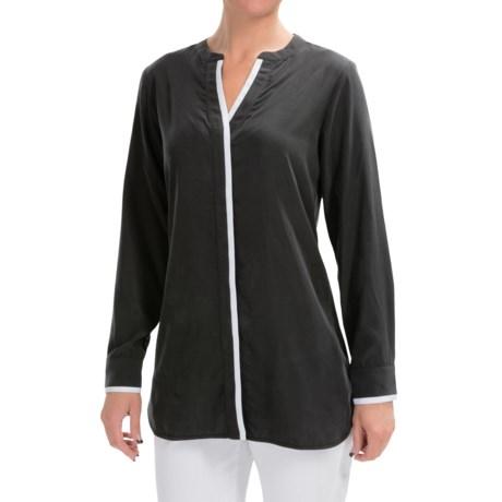 Foxcroft Modal Split Neck Blouse - Long Sleeve (For Women)