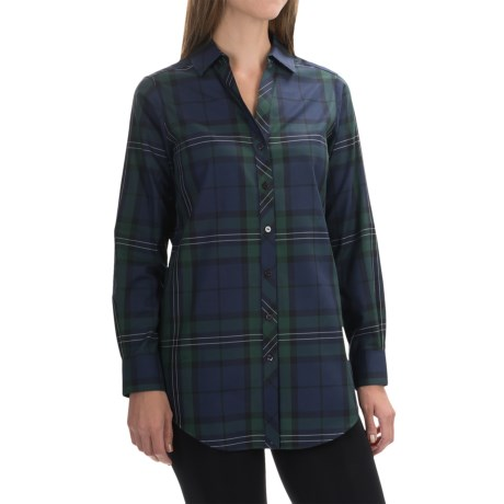 Foxcroft Shaped Tartan Tunic Shirt - Long Sleeve (For Women)
