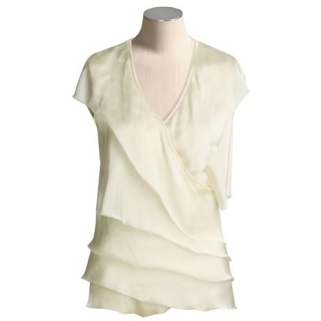 Magaschoni Silk Cashmere Wrap Shirt - Ruffled (For Women)
