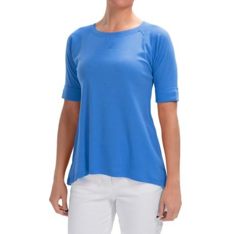 Lilla P Fine Rib Elbow Raglan Shirt - Elbow Sleeve (For Women)