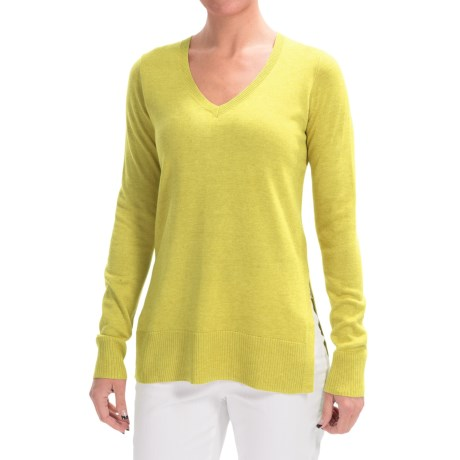 Lilla P Side Slit Tunic Sweater - Cotton-Modal (For Women)
