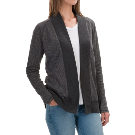 Lilla P Microstripe Waffle Open Cardigan Sweater (For Women)