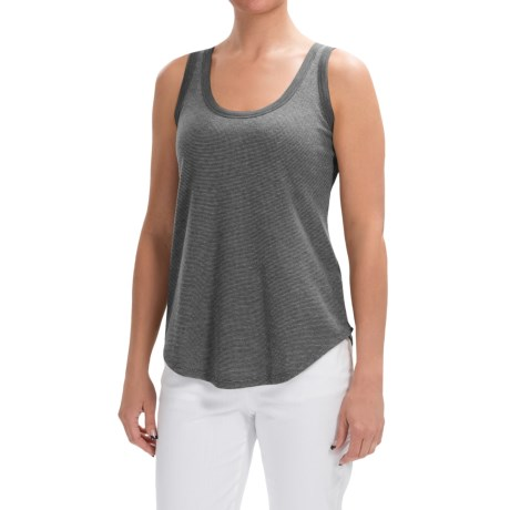 Lilla P Microstripe Waffle Scoop Neck Tank Top (For Women)