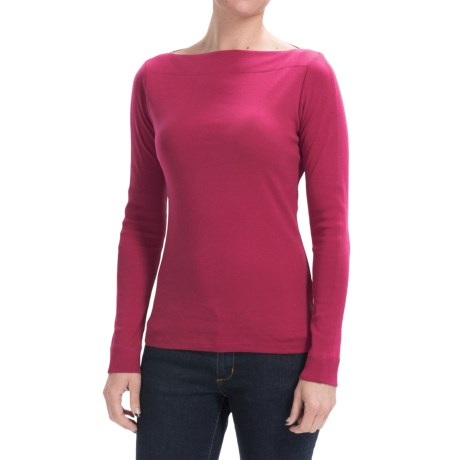 Lilla P Classic Rib Cotton Slit Neck Shirt - Long Sleeve (For Women)