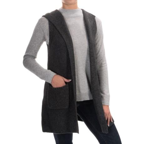 Tahari Wool Blend Open Front Cardigan Sweater - Hood, Sleeveless (For Women)