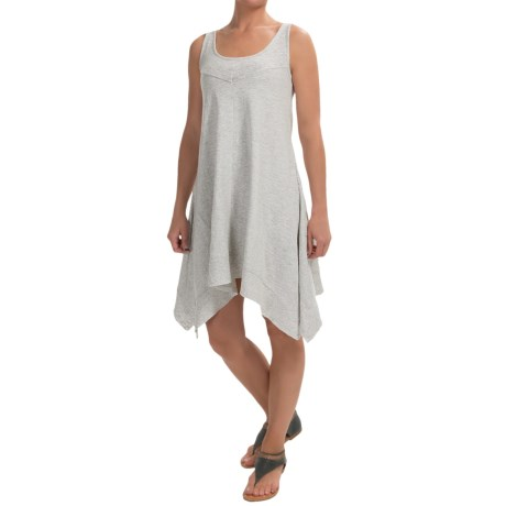 Keyhole Cotton Slub Tank Dress- Sleeveless (For Women)