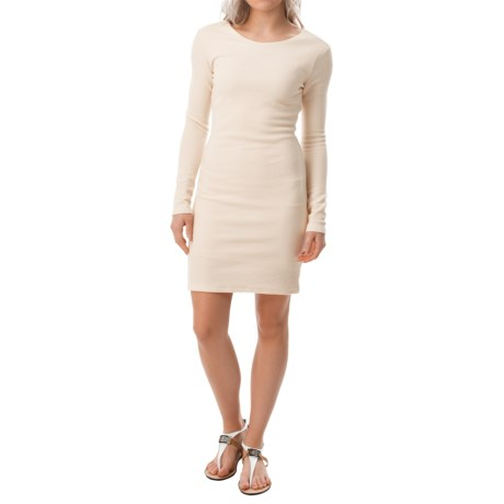 Textured Cotton Dress - Fully Lined, Long Sleeve (For Women)