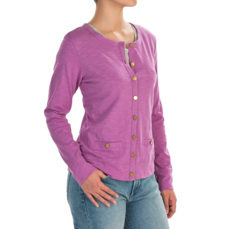 Cotton Slub Cardigan Shirt - Long Sleeve (For Women)