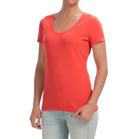 Specially made Stretch Cotton Knit Shirt - Scoop Neck, Short Sleeve (For Women)