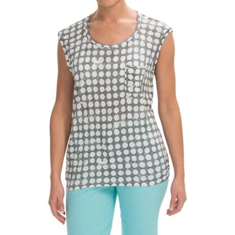 Rayon Geometric Dot Shirt - Sleeveless (For Women)