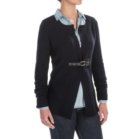 Tahari Front Buckle Cardigan Sweater - Merino Wool (For Women)