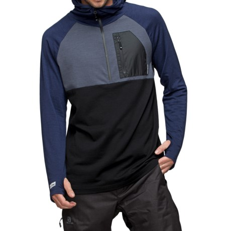 Mons Royale Tech Hoodie Shirt - Merino Wool, Zip Neck, Long Sleeve (For Men)