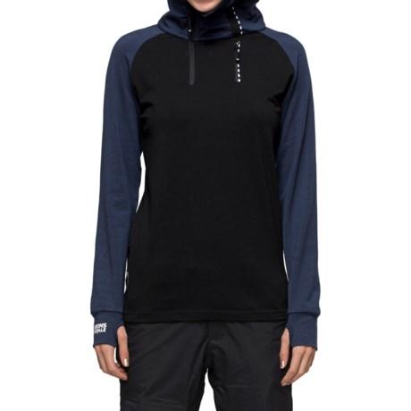 Mons Royale Tech Hoodie Shirt - Merino Wool, Zip Neck, Long Sleeve (For Women)