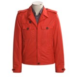 Isaia Red Waist-Length Military-Style Jacket - Microfiber (For Men)