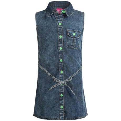Pink Platinum Denim Dress - Sleeveless (For Big Girls)