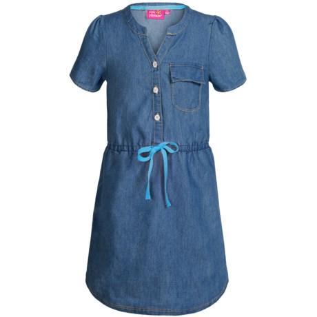 Pink Platinum Denim Dress - Short Sleeve (For Big Girls)