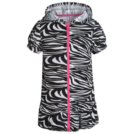 Pink Platinum Hooded Swimsuit Cover-Up Dress - Full Zip, Short Sleeve (For Little Girls)
