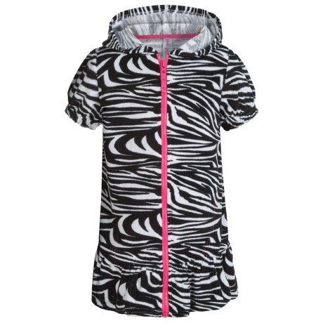 Pink Platinum Hooded Swimsuit Cover-Up Dress - Full Zip, Short Sleeve (For Little Girls)