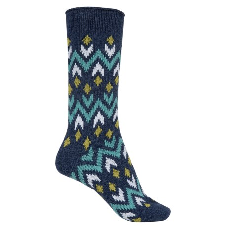 Bearpaw Zigzag Midweight Socks - Crew (For Women)