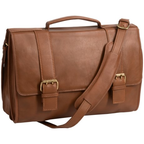 Scully Hidesign Leather Double-Buckle Laptop Briefcase