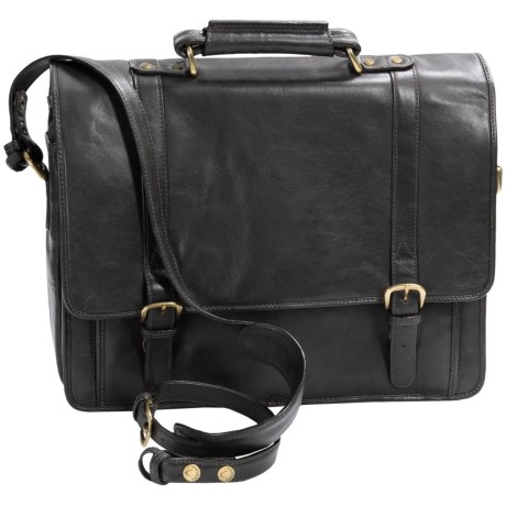 Scully Hidesign Hand-Stained Calf Leather Laptop Briefcase - Double Buckle