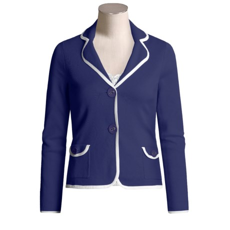 Cullen Cotton Knit Blazer - Tipped (For Women)