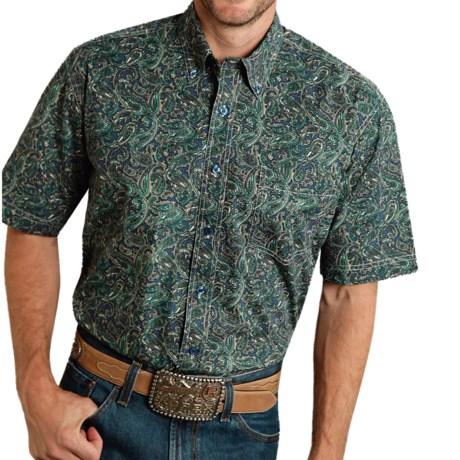 Roper Printed Cotton Shirt - Short Sleeve (For Men and Big Men)