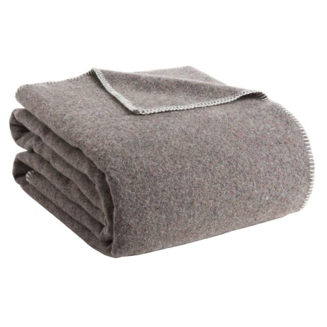 Faribault Woolen Mill Co . Recycled Wool Blanket - Queen, Whipstich Edge