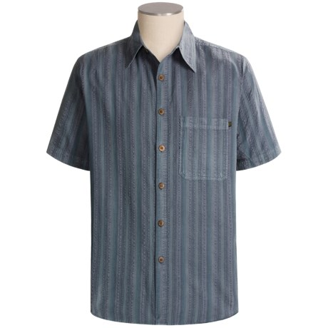 Weekends Off Striped Cotton Shirt - Short Sleeve (For Men)