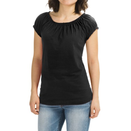 Grace Pima Cotton Shirt - Elastic Neck, Short Sleeve (For Women)