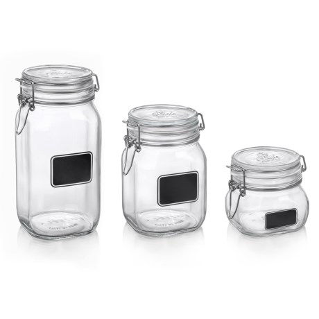 Bormioli Rocco Fido Square Jars - Set of 3, Chalk Labels