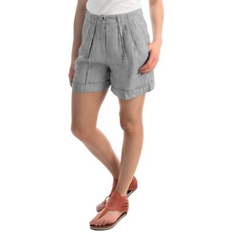AJ Andrea Jovine Cuffed Linen Shorts (For Women)
