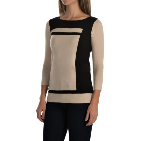 Cullen Color-Block Sweater - Cotton, 3/4 Sleeve (For Women)