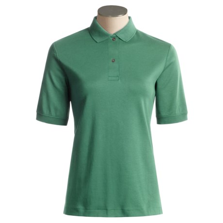 Fine Cotton Polo Shirt - Short Sleeve (For Women)