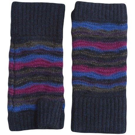 Forte Cashmere Striped Texting Gloves - Fingerless (For Women)