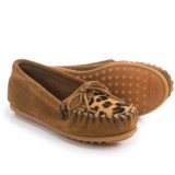 Minnetonka Leopard Kilty Moccasins - Suede (For Little and Big Girls)