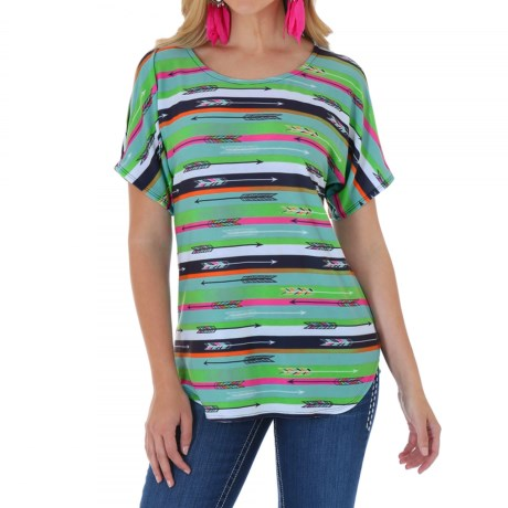 Wrangler Printed Cold Shoulder Tunic Shirt - Short Sleeves (For Women)
