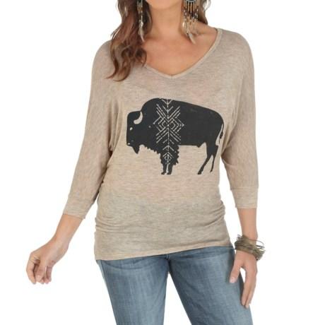 Wrangler Graphic Knit Shirt - V-Neck, 3/4 Sleeve (For Women)