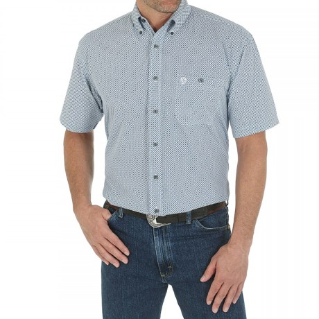 Wrangler George Strait Collection Printed Western Shirt - Button Front, Short Sleeve (For Men)