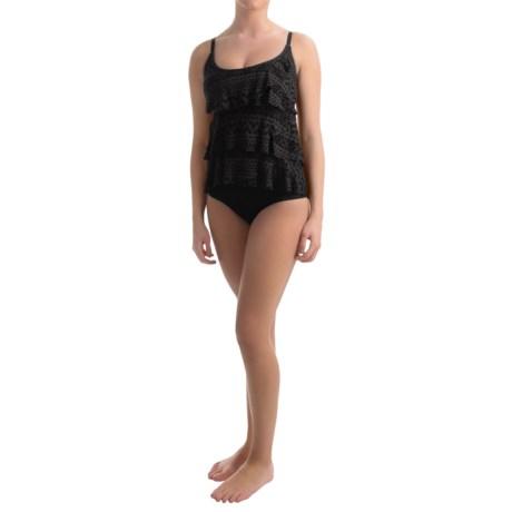 Jones New York Neo Crochet Triple-Tier Ruffle One-Piece Swimsuit (For Women)