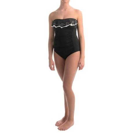 Jones New York Laser-Cut Ruffle Bandeau One-Piece Swimsuit (For Women)
