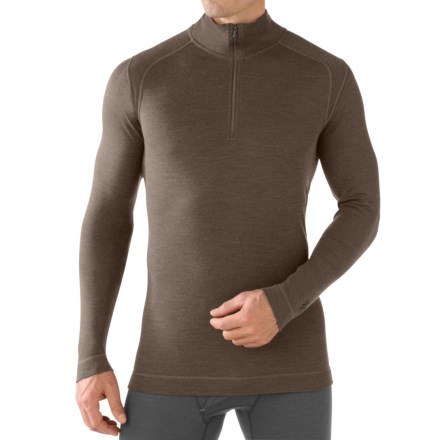SmartWool NTS 250 Base Layer Top - Merino Wool, Zip Neck, Long Sleeve (For Men) in Taupe Heather - Closeouts