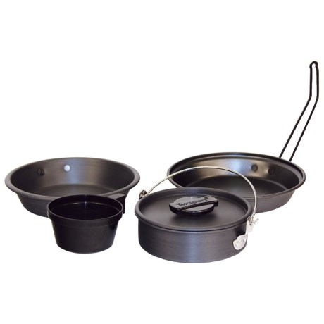 Texsport Pathfinder Black Ice Anodized Aluminum Mess Kit - 4-Piece