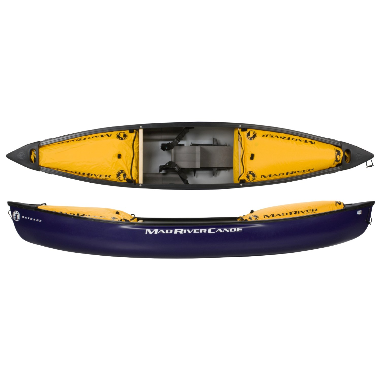 Mad River Outrage IQ2 Whitewater Solo Canoe 12' 1435R 29 on