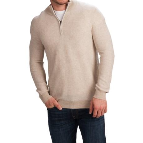 Forte Cashmere Garter Stripe Mock Neck Sweater - Zip Neck (For Men)