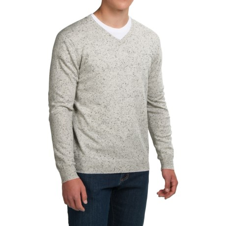 Forte Cashmere Basic V-Neck Sweater (For Men)