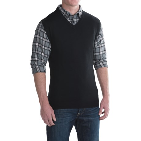 For The Republic V-Neck Sweater Vest - Merino Wool (For Men)