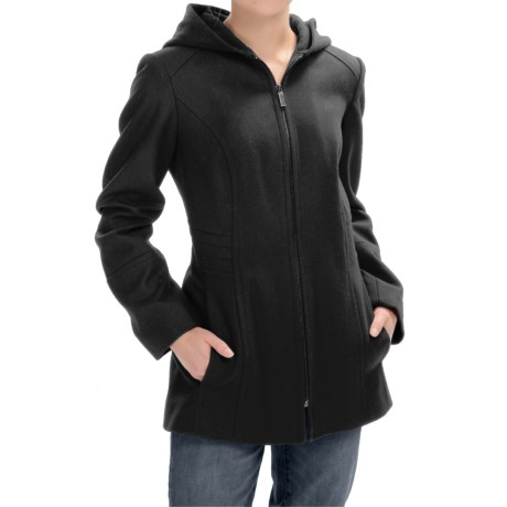 London Fog Full-Zip Car Coat - Wool Blend, Hooded (For Women)